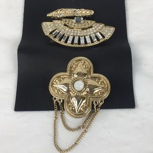 Free People hair barrette set 3 gold-tone new